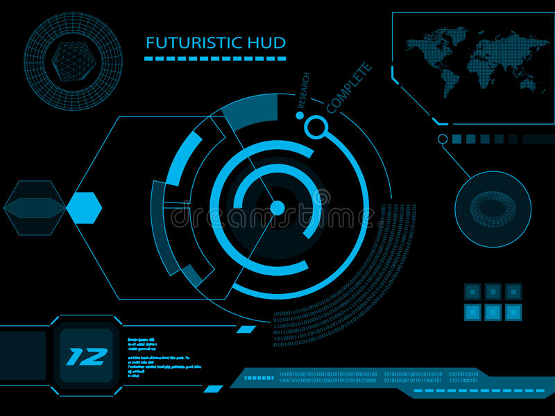Futuristic user interface HUD stock illustration