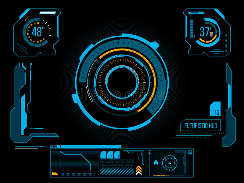 Futuristic user interface HUD. Futuristic blue virtual graphic touch user interface HUD royalty free illustration