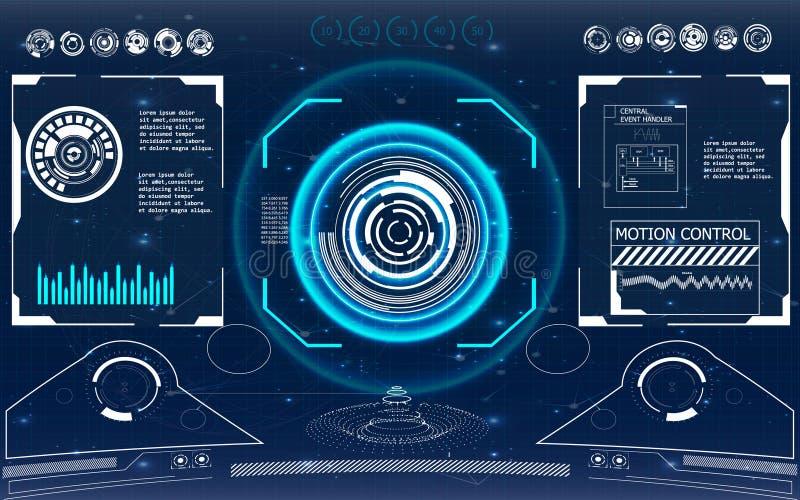 Futuristic user interface. HUD. Radar screen. Vector illustration for your design. Technology background. Futuristic user interface. HUD royalty free illustration