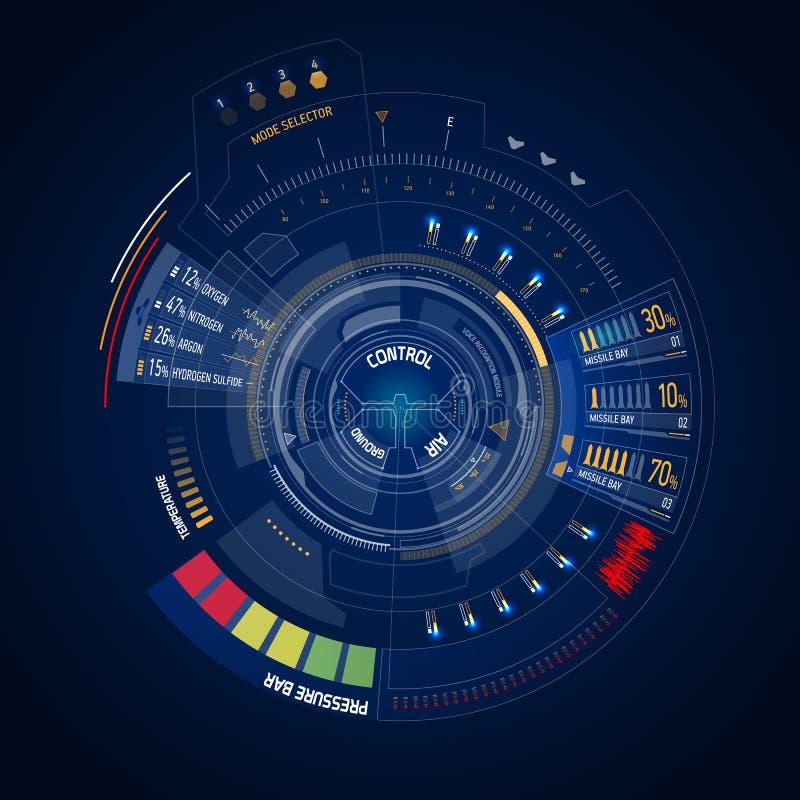 Futuristic user interface HUD. Futuristic sci-fi virtual touch user interface HUD stock illustration
