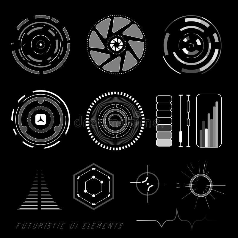 Futuristic user interface HUD. Futuristic sci-fi virtual touch user interface HUD elements stock illustration