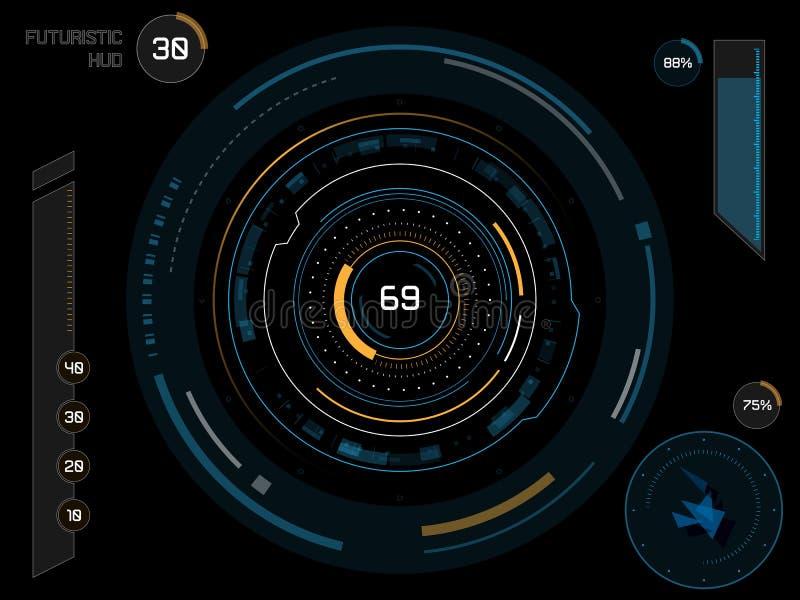 Futuristic user interface HUD. Futuristic sci-fi virtual touch user interface HUD elements royalty free illustration