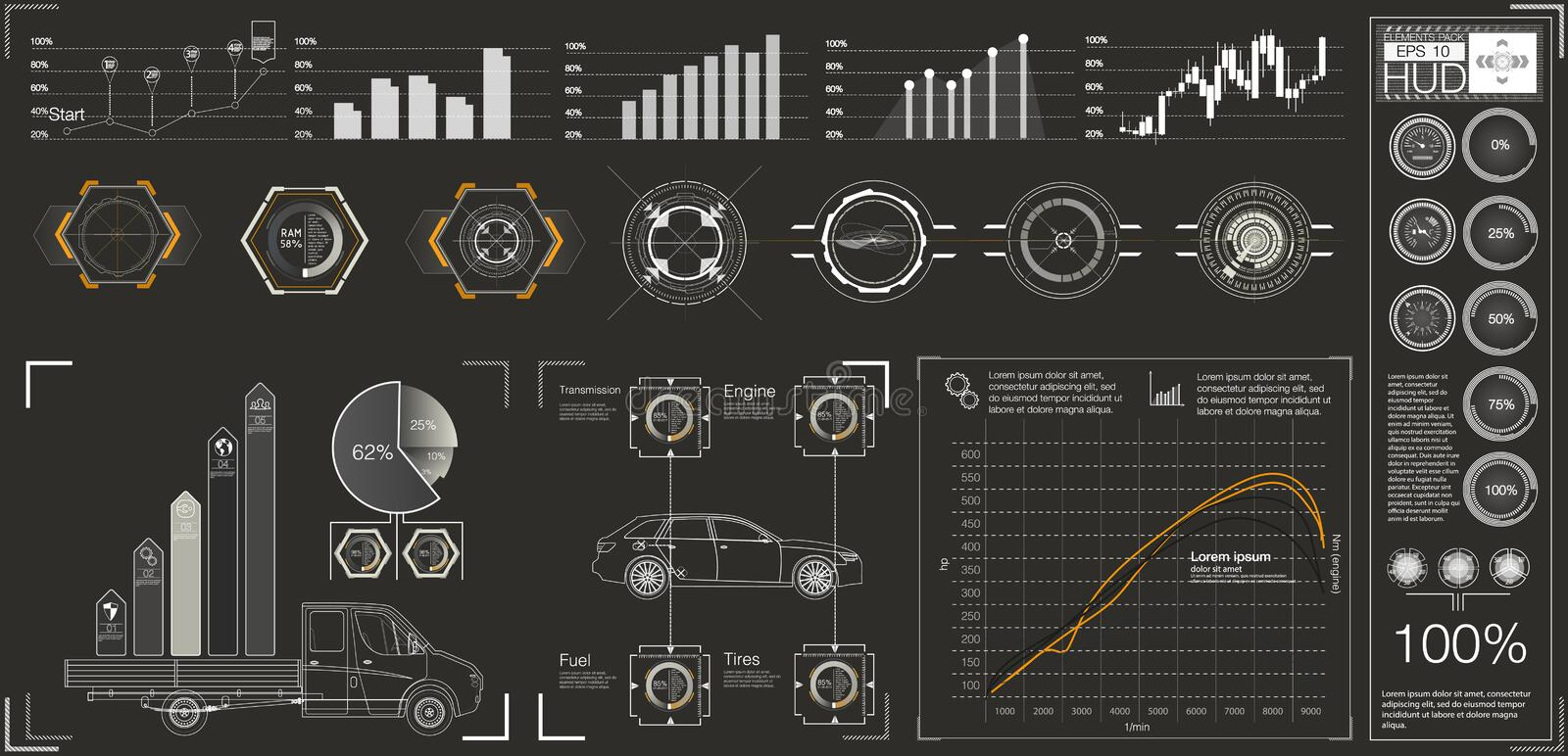 Futuristic user interface. HUD UI. Abstract virtual graphic touch user interface. Cars infographic. Vector science abstract. Vector illustration vector illustration