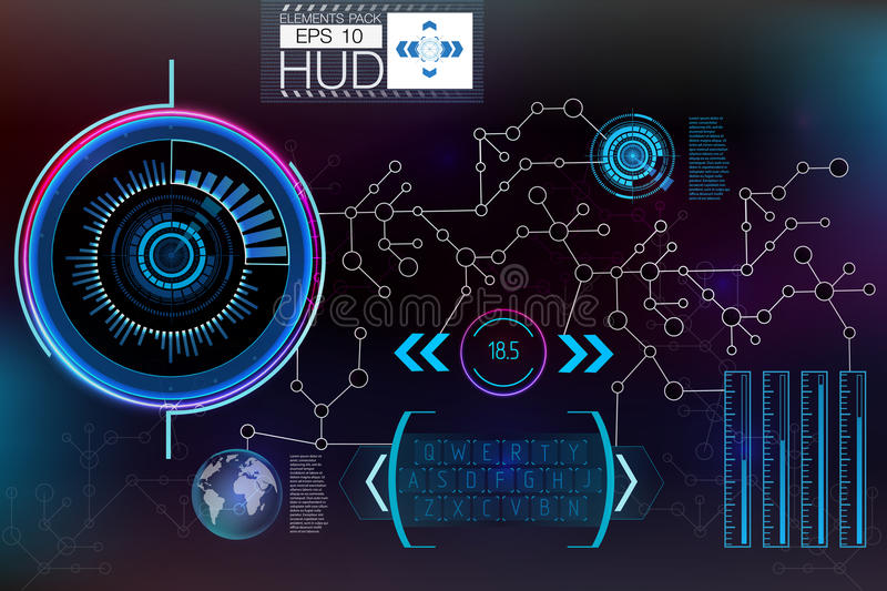 Futuristic user interface. HUD UI. Abstract virtual graphic touch user interface. HUD background outer space. Vector science abstract. Vector illustration vector illustration
