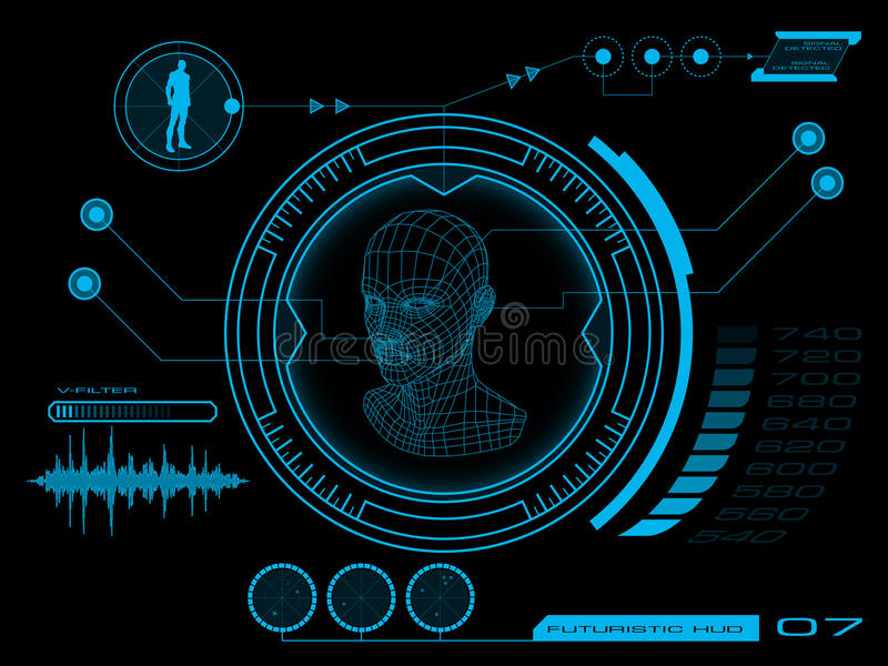 Futuristic user interface HUD. Futuristic virtual graphic user interface HUD vector illustration