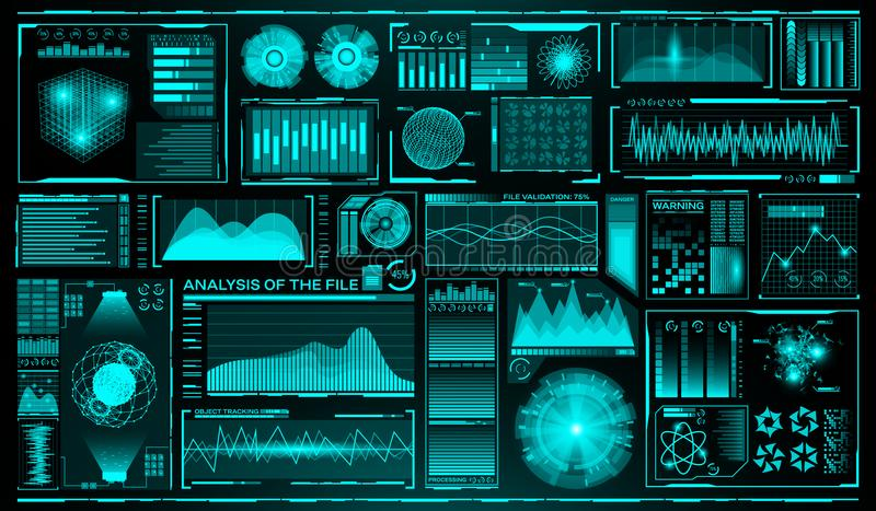 Futuristic user interface set. HUD. Future infographic elements. Technology and science theme. Analysis system. Scanning. Graphs and waves. Vector illustration