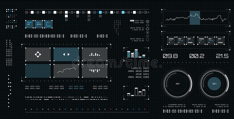 Futuristic user interface. Spaceship screen elements set. Infographic display. Dark color graphic touch screen. Futuristic user interface. Spaceship screen vector illustration