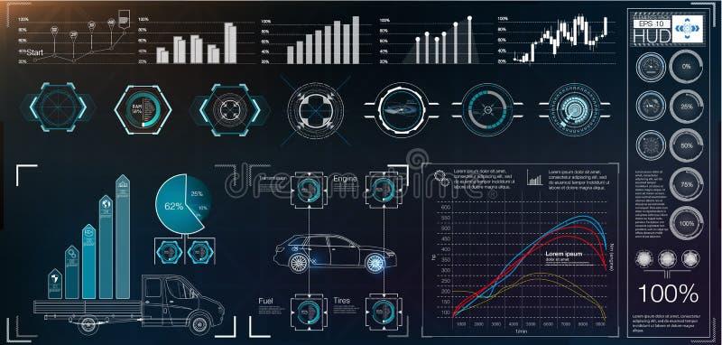 Futuristic users interface. Illustration of futuristic users interface with different charts royalty free illustration