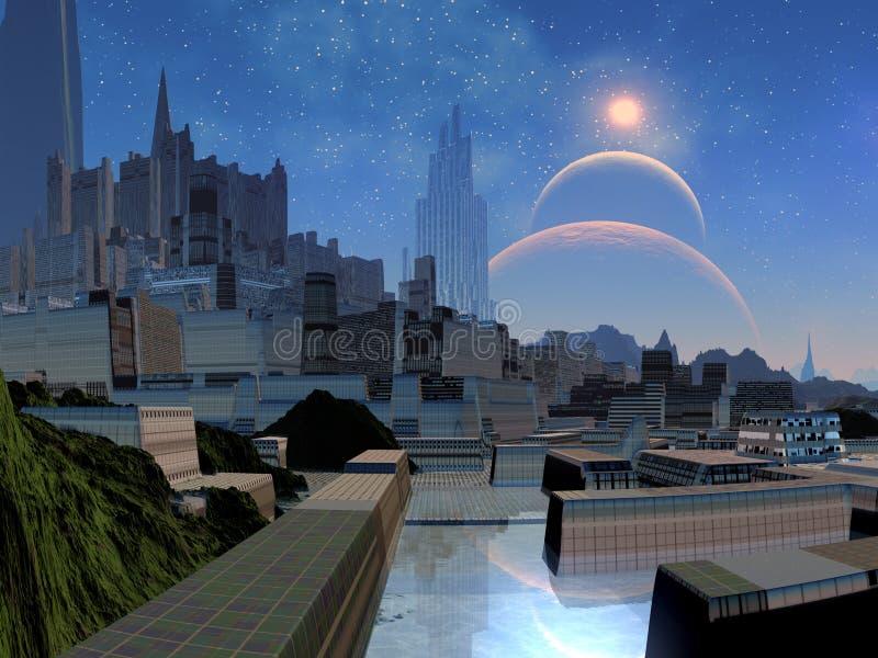 futuristic värld för främmande stad royaltyfri illustrationer