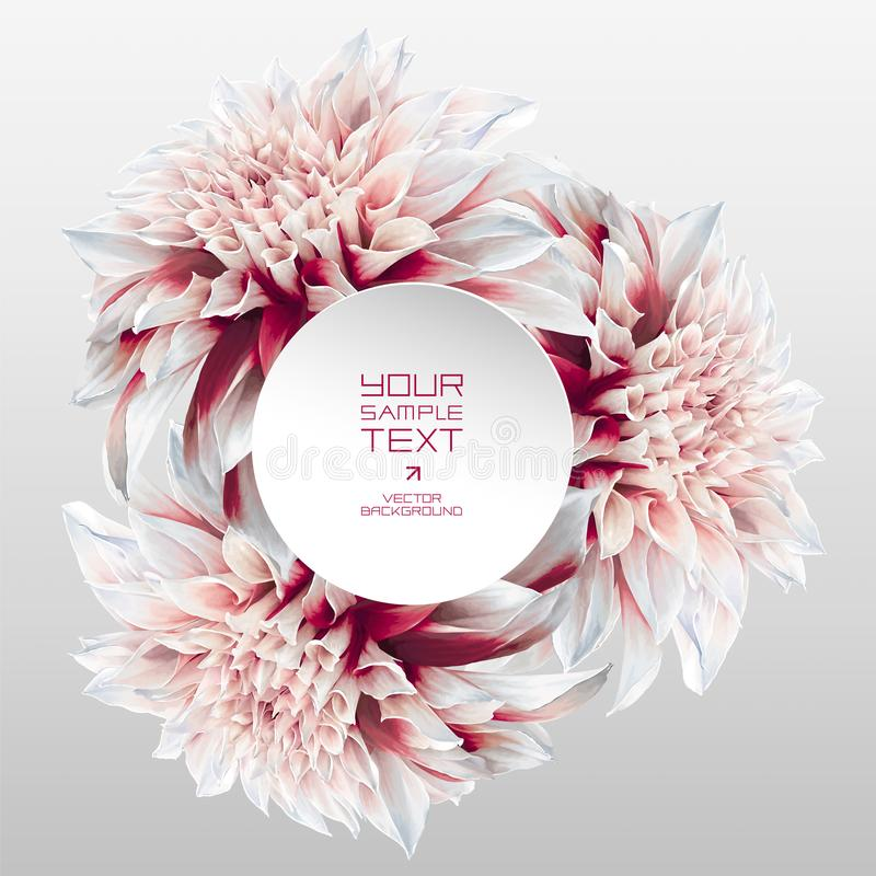 Dahlia futuristic rosette with round paper label. Futuristic vector abstract background for booklet covers, greeting cards, banners or posters, sales and other stock illustration