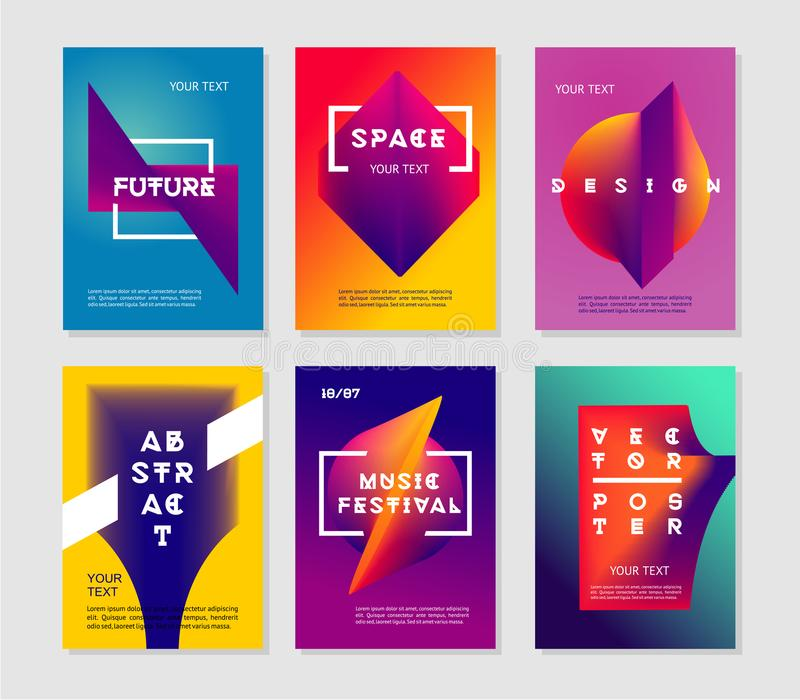 Minimalist abstract posters set with vibrant gradient. Futuristic vector background collection. stock illustration