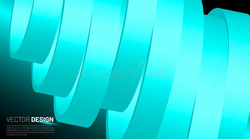 Futuristic vector illustration. Abstract background with lined ring shape. 3d vector with curved ribbons stock illustration