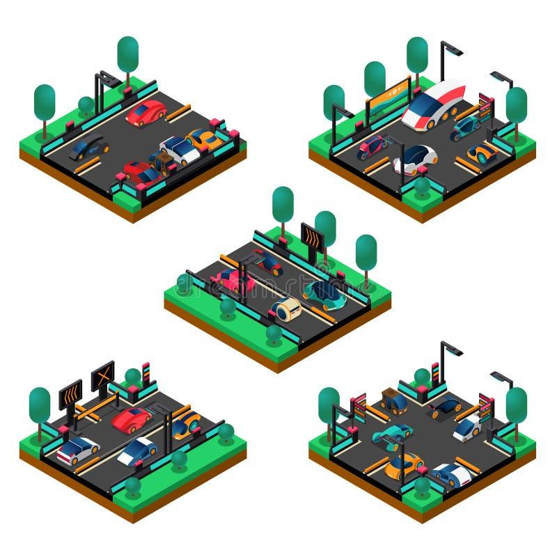 Futuristic Vehicles Isometric Concept vector illustration