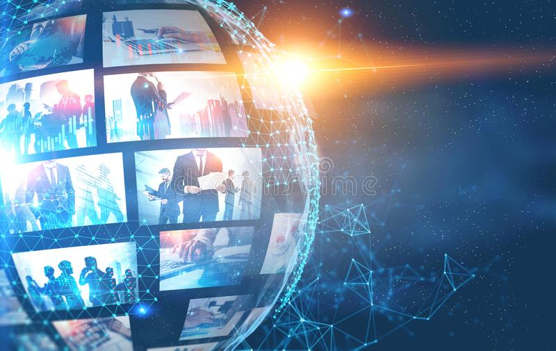 Futuristic video interface and communication. Abstract hi tech background with digital planet hologram and picture thumbnails. Concept of internet, communication royalty free stock photo