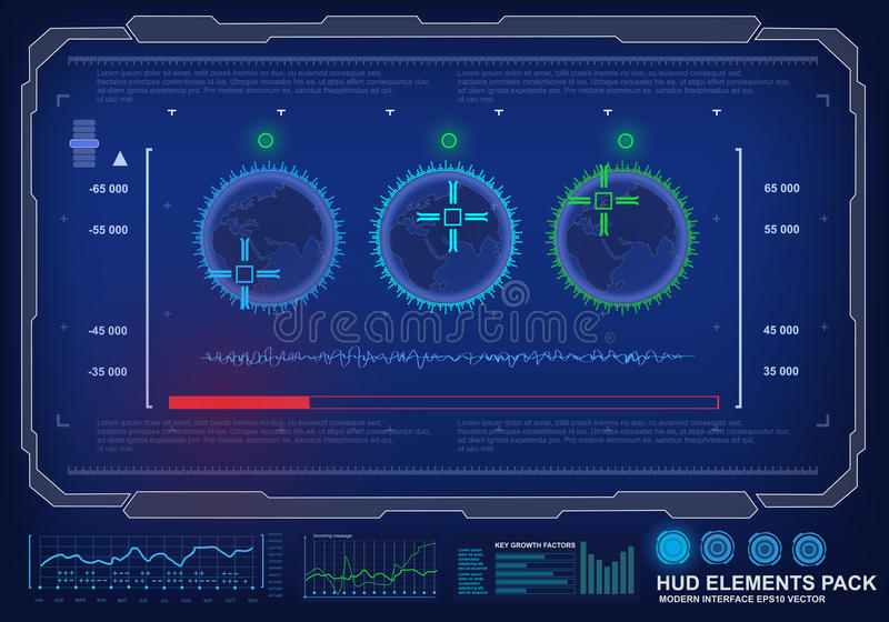 Futuristic virtual graphic touch user interface, target royalty free illustration
