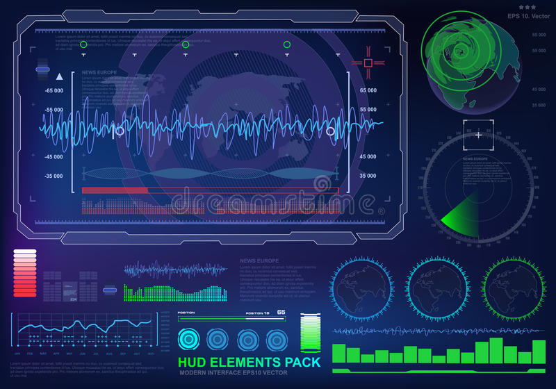 Futuristic virtual graphic touch user interface, target. HUD UI for business app. Futuristic user interface HUD and Infographic elements. Abstract virtual stock illustration