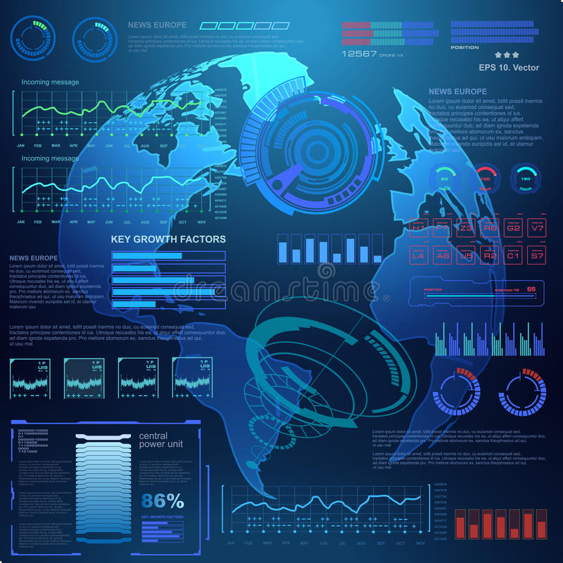 Futuristic virtual graphic touch user interface, target. HUD UI for business app. Futuristic user interface HUD and Infographic elements. Abstract virtual royalty free illustration