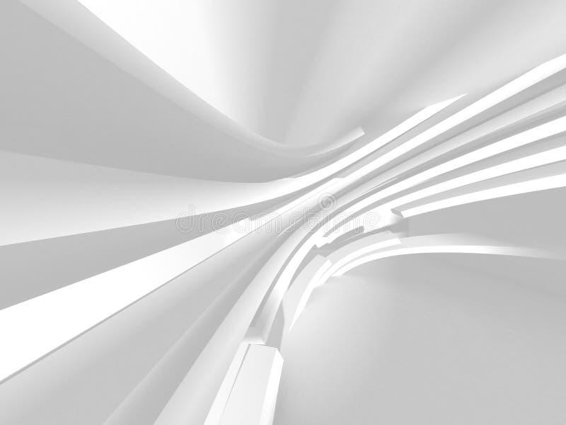 Futuristic White Architecture Design Background. 3d Render Illustration stock illustration