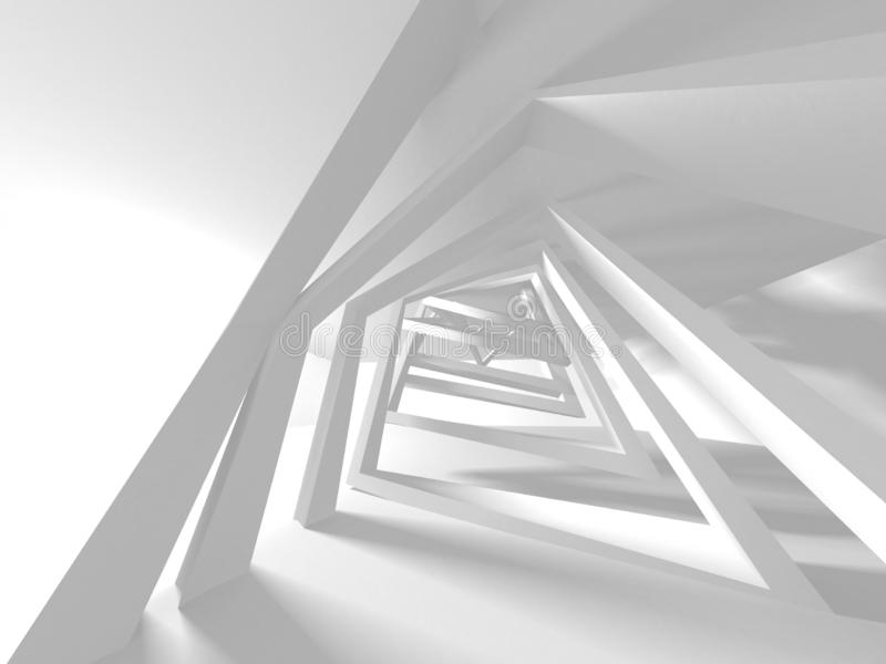 Futuristic White Architecture Design Background. 3d Render Illustration royalty free illustration