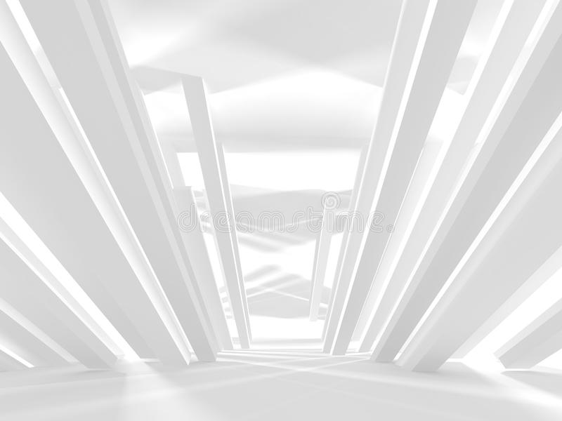 Futuristic White Architecture Design Background. 3d Render Illustration stock photos