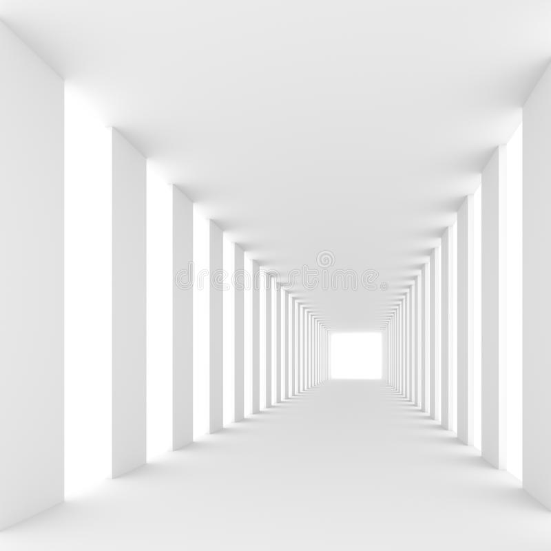 Futuristic white background. Futuristic empty white corridor with walls and bright light. 3D Rendering royalty free illustration
