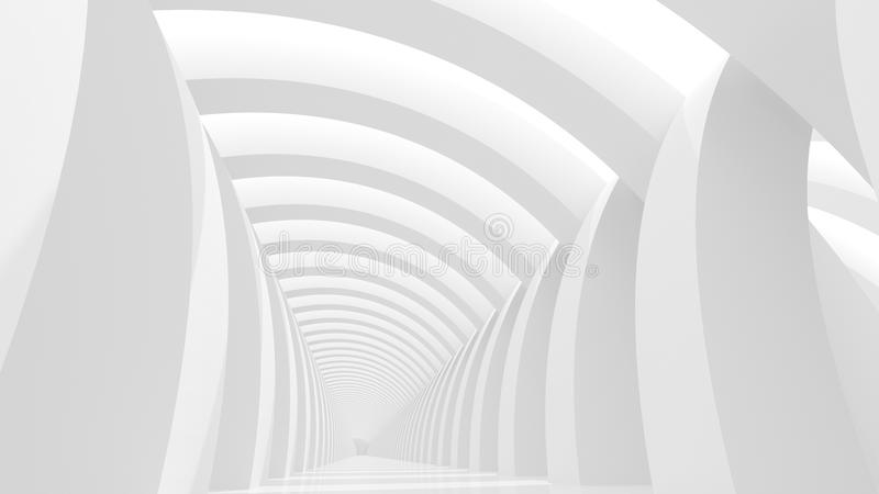 Futuristic white background. Futuristic white corridor with abstract columns and bright light. 3D Rendering vector illustration