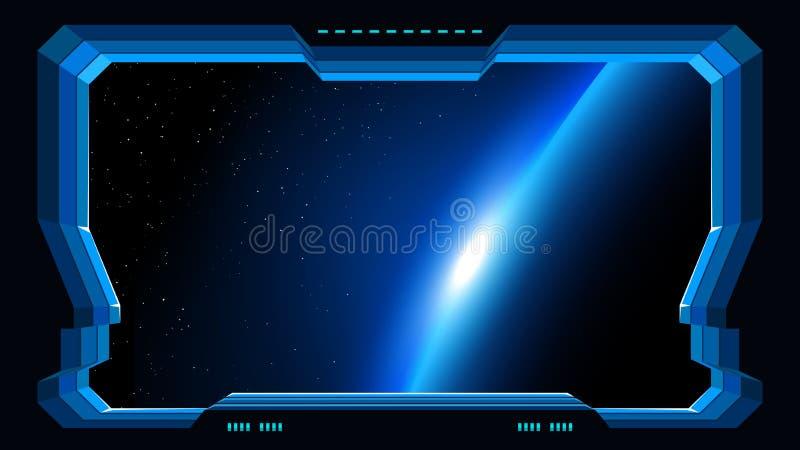 Futuristic window planet view vector illustration