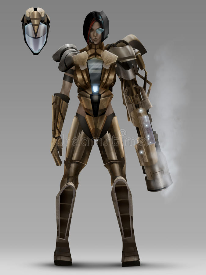 Futuristic woman cyber armor costume royalty free illustration