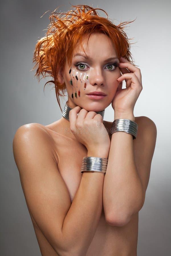 Futuristic woman feel shy stock photo