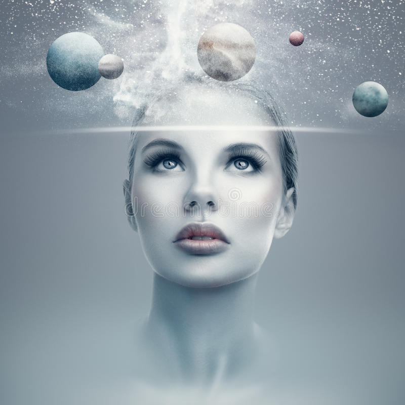 Futuristic woman portrait stock illustration