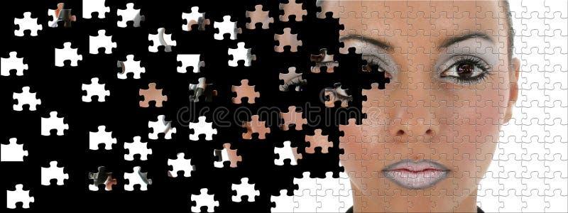 Futuristic Woman Puzzle Broken stock photo