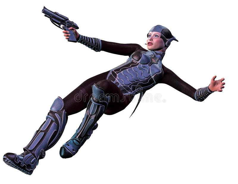 Futuristic woman soldier, armed with gun, 3d illustration royalty free illustration