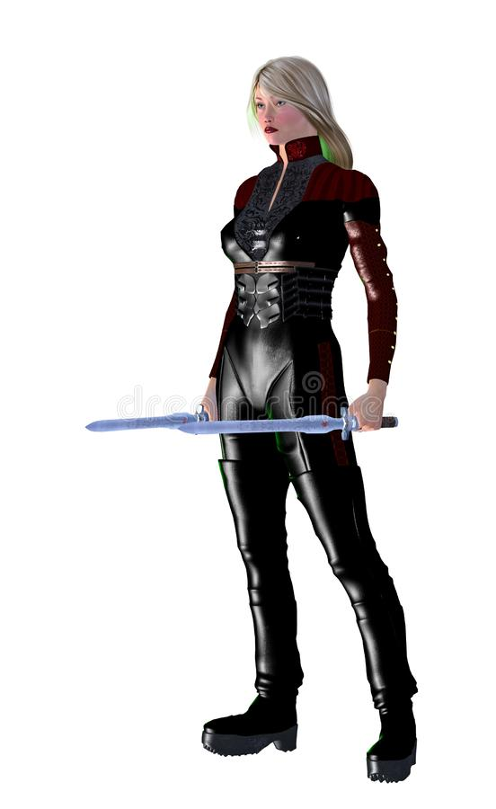 Futuristic woman soldier, armed with swords, 3d illustration stock illustration