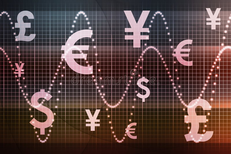 Futuristic World Currencies Business Background. Futuristic World Currencies Business Abstract Background Wallpaper royalty free illustration