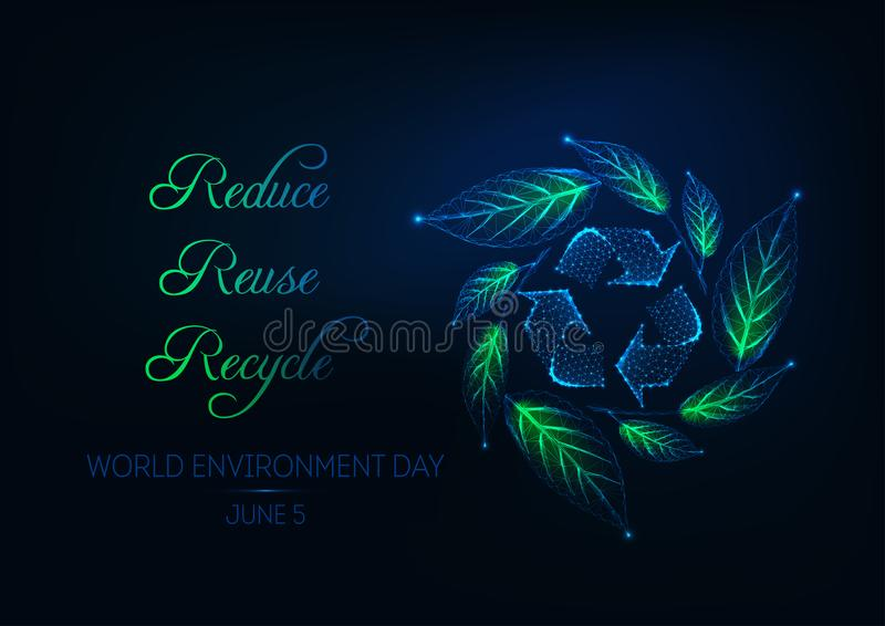 Futuristic world environment day web banner with recycling sign, green leaf wreath and slogan stock image