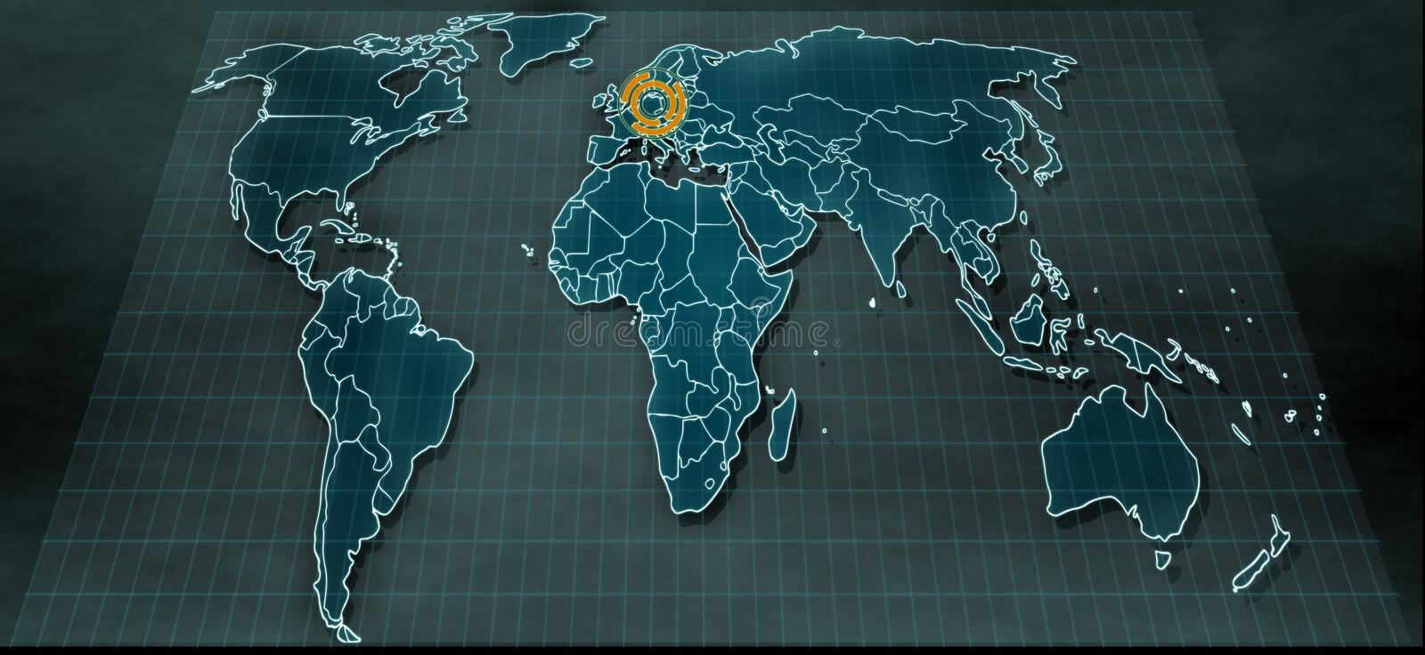 Futuristic world map in digital display with highlight on Berlin stock photography