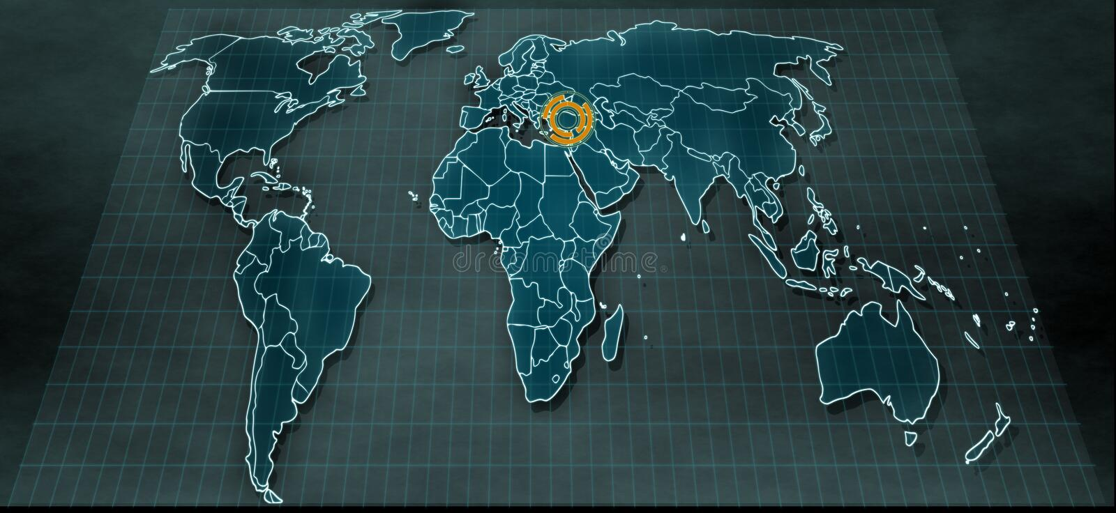 Futuristic world map in digital display with highlight on Turkey royalty free stock photo