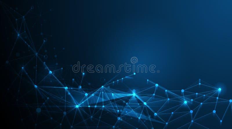 Futuristico astratto - fondo di tecnologia delle molecole illustrazione di stock