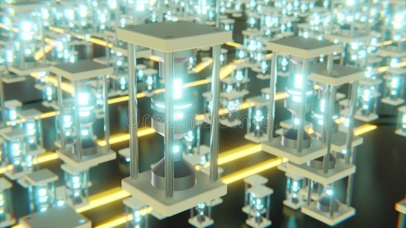 futuristisch abstract voorwerp met gloeiende blauwe kern en neon gele digitale vormen bij vloer het 3d teruggeven stock illustratie