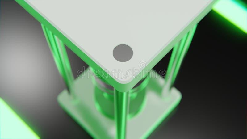 Futuristisch abstract voorwerp met gloeiende rode kern en neon groene digitale vormen bij vloer het 3d teruggeven stock illustratie