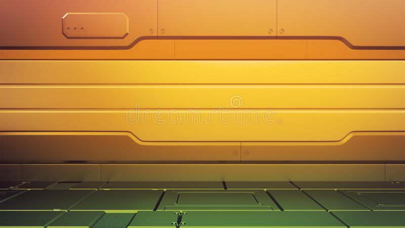 Futuristisch binnenland met leeg stadium Moderne Toekomstige achtergrond Het concept van technologie van technologie sc.i-FI hall stock illustratie