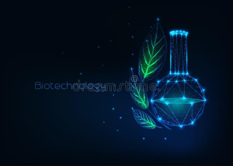 Futuristisch biotechnologieconcept met gloeiende lage veelhoekige chemische beker en groene bladeren royalty-vrije illustratie