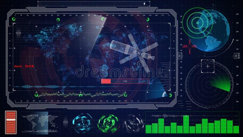 Futuristisch blauw virtueel grafisch aanrakingsgebruikersinterface HUD aarde digitale kaart royalty-vrije stock afbeelding