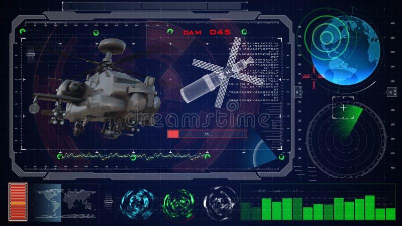 Futuristisch blauw virtueel grafisch aanrakingsgebruikersinterface HUD De militaire roofvogel van de legerhelikopter royalty-vrije illustratie