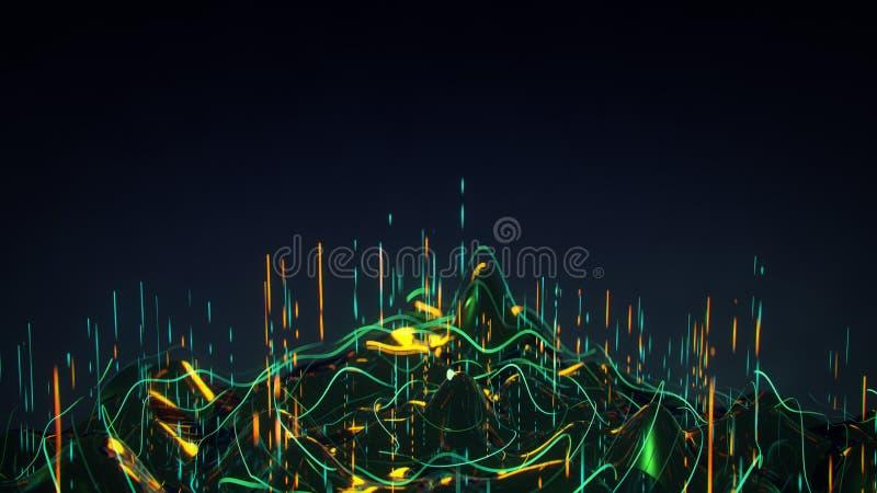 Futuristisch concept de stroom 3D teruggevende illustratie van analyse grote gegevens vector illustratie
