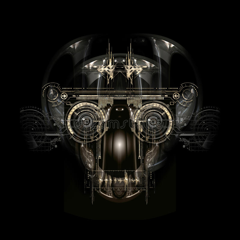 Futuristisch cyborggezicht, 3D illustratie vector illustratie