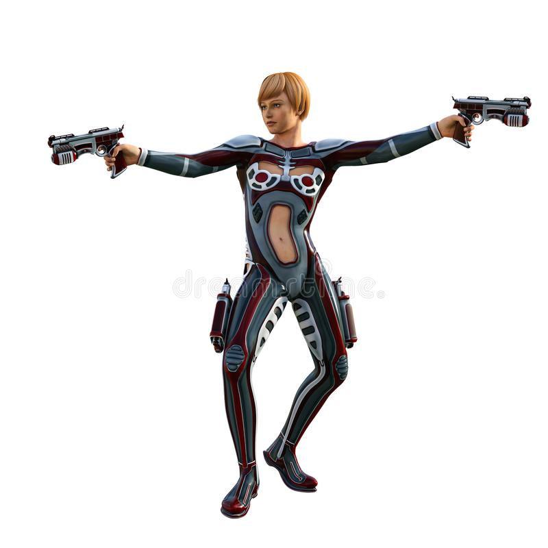 Futuristisch die militairmeisje, met kanon wordt bewapend, 3d illustratie stock illustratie