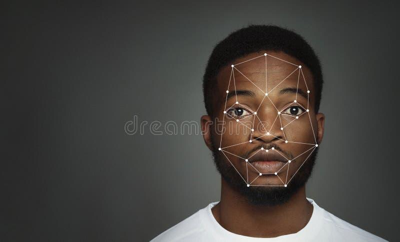 Futuristisch en technologisch aftasten van gezicht voor gezichtserkenning stock foto's