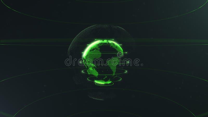 Futuristisch gebied van punten Globaliseringsinterface Betekenis van wetenschap en technologie abstracte grafiek het 3d teruggeve vector illustratie