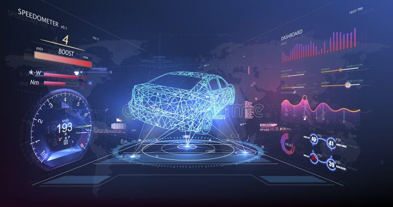 Futuristisch gebruikersinterface HUD UI Abstract virtueel grafisch aanrakingsgebruikersinterface De autodienst in de stijl van HU royalty-vrije illustratie